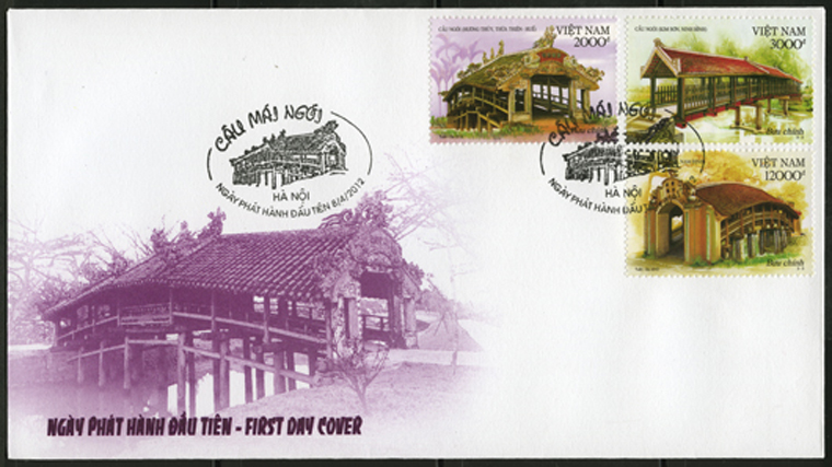 "Stampset ""Tile- roofed bridge"" issued in Thua Thien Hue"
